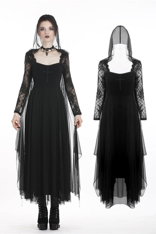 Gothic cross long dress with tulle cap,hem and sleeves DW267 - Gothlolibeauty
