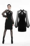 Retro Black tight dress with mesh sleeves DW270 - Gothlolibeauty