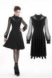 Black flower V-shape chest with mesh sleeves DW272 - Gothlolibeauty