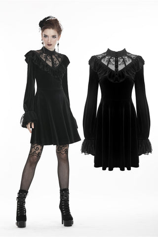 Gothic lolita lace V neck velvet dress DW276 - Gothlolibeauty
