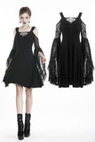 Gothic lace up chest dress with big lace sleeves DW289 - Gothlolibeauty