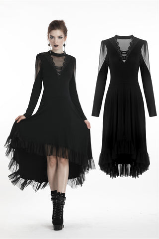 Women Black long dress with V mesh with rope DW294 - Gothlolibeauty