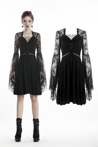 Gothic lady lace rope dress with hollow sexy waist DW297 - Gothlolibeauty