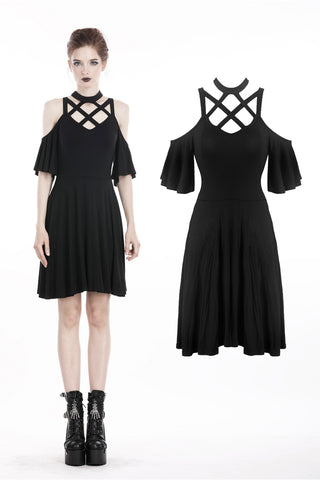 Punk off shoulder sexy dress with back lace up DW304 - Gothlolibeauty