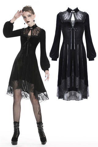 Black women velvet sexy goth dress DW325 - Gothlolibeauty