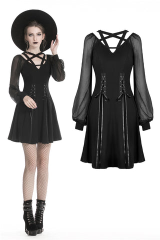 Black punk alternative star homecoming dresses DW330 - Gothlolibeauty