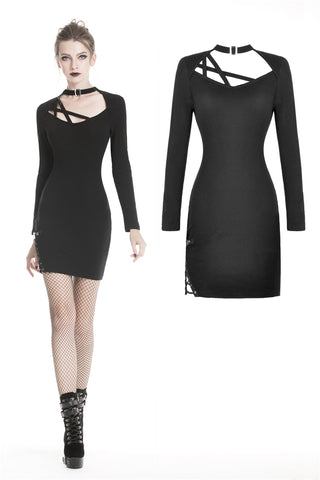 Punk rock asymmetrical alt long sleeves slim dress DW331 - Gothlolibeauty