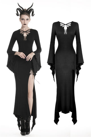 Gothic slashed maxi tight dress  DW332 - Gothlolibeauty