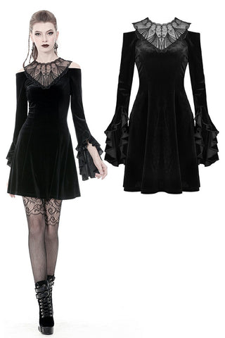 Gothic hollow shoulder dress with sexy pattern front DW341 - Gothlolibeauty