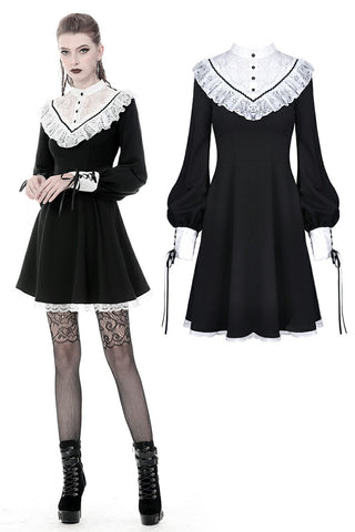 Ladies black lolita dress with white inverted triangle lace front  DW355 - Gothlolibeauty