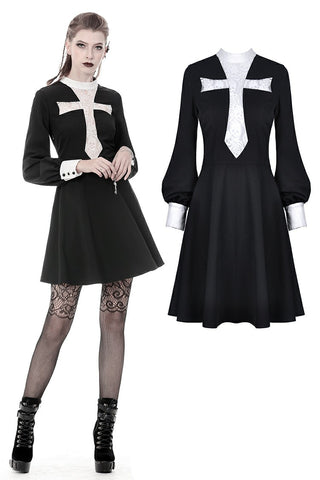 Gothic vintage black dress with a big white skull cross front DW356 - Gothlolibeauty