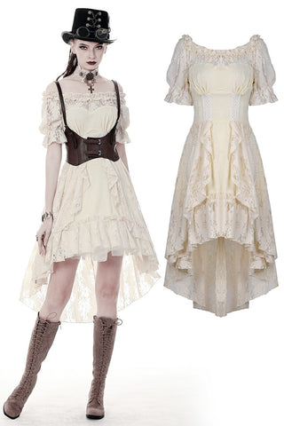 Steampunk beige cocktail short sleeves dress DW358 - Gothlolibeauty