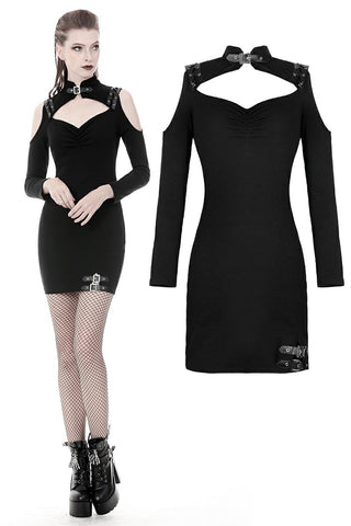 Punk off-shoulders bodycon dress DW360 - Gothlolibeauty