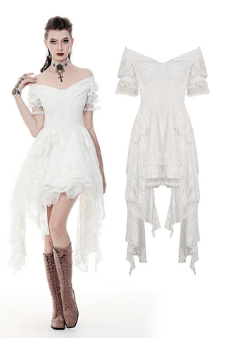 Steampunk white wedding short sleeves dress  DW362 - Gothlolibeauty