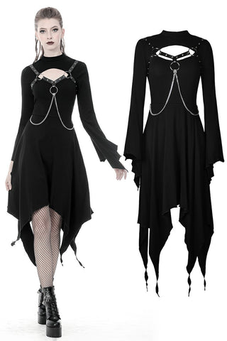 Punk chain long sleeves dress DW365 - Gothlolibeauty