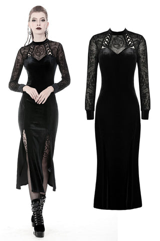 Gothic long velvet slim party dress  DW368 - Gothlolibeauty