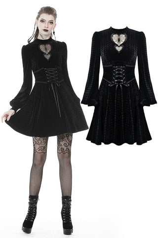 Gothic double heart front belt waist dress DW373 - Gothlolibeauty