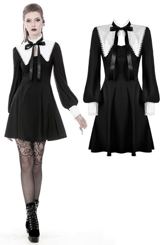 Gothic lolita black and white bow neck dress DW374 - Gothlolibeauty