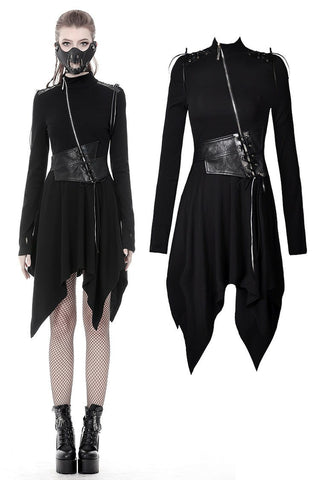Punk warrior PU leather asymmetrical bandage waist dress DW376 - Gothlolibeauty