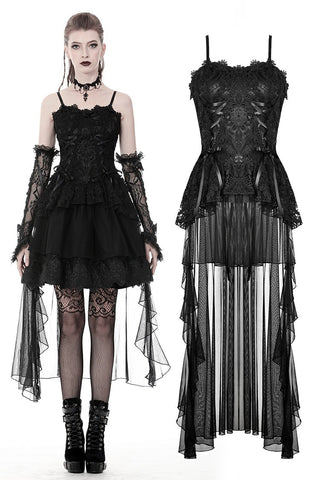 Gothic elegant lace dress with long tail tulle hem DW382 - Gothlolibeauty