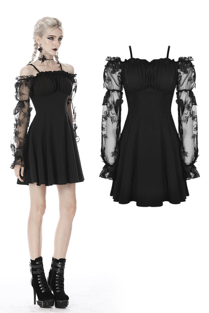Gothic sexy off-shoulder lacey sleeves dress DW390 - Gothlolibeauty