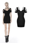 custom made link of Punk metal hollow out short sleeves slim dress DW391 - Gothlolibeauty