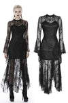 Gothic lacey asymmetrical long dress DW398 - Gothlolibeauty