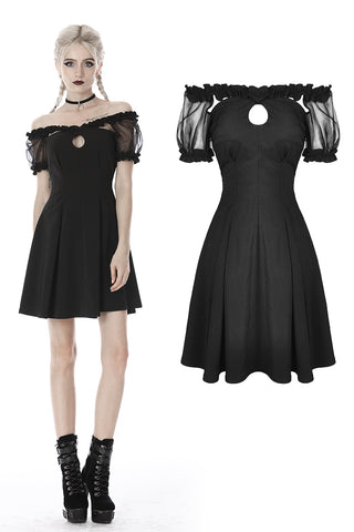 custom made link of Black lolita off shoulder tulle short sleeves midi dress DW400 - Gothlolibeauty