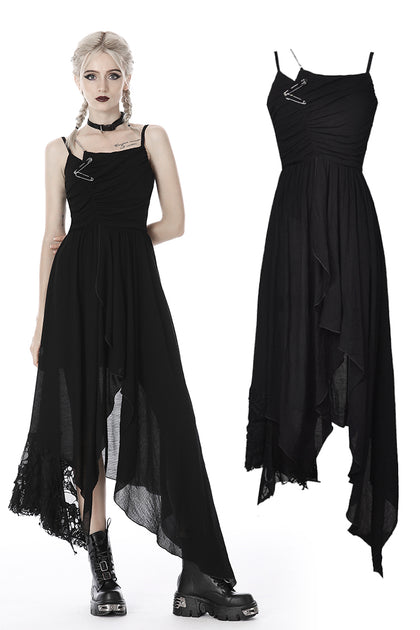 custom made link of Punk ragged safety pin asymmetrical strap dress DW407 - Gothlolibeauty
