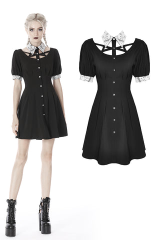 Punk Whiteite lapel collar short sleeves dress DW410 - Gothlolibeauty