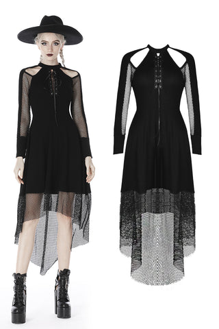Punk off shoulder net cocktail dress DW416 - Gothlolibeauty
