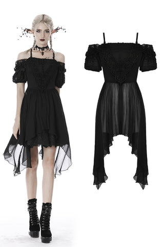 custom made link of Gothic side long middle short chiffon dress DW419 - Gothlolibeauty