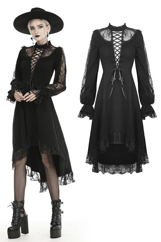 Lace lace up longsleeves cocktail gothic dress DW436