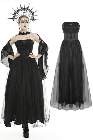 Gorgeous beaded tulle maxi gothic wedding dress  DW437
