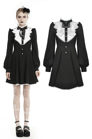 Gothic pleated button up longsleeves dress DW462