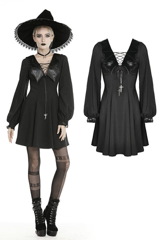 Bat collar tie up halloween party dress DW464