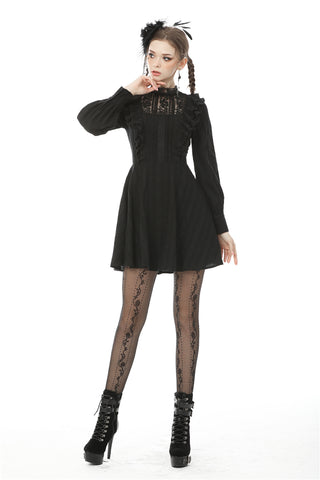 Dark mysterious frilly lace dress DW472