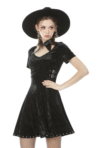 Devil magic diamond velvet dress DW492