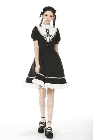Rebel princess tie up heart black white dress DW496