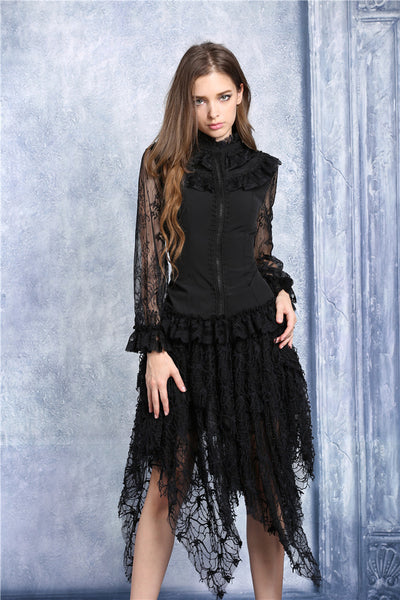 IW068 Chiffon material blouse with lace sleeves