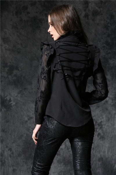IW071 Haut dark blouse with asymmetric front and cord above the back