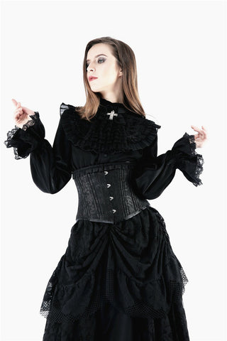 Gothic noble blouse with cross bow tie IW075 - Gothlolibeauty