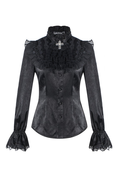 IW075 Gothic noble blouse with cross bow tie