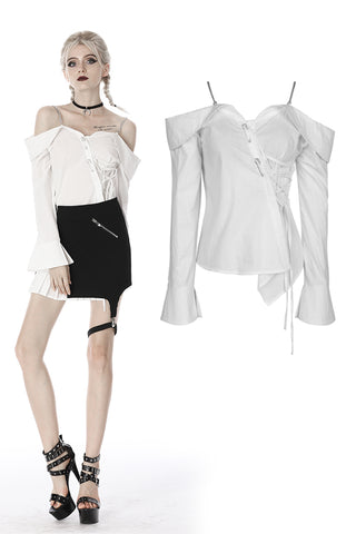 Punk Whiteite safety pin asymmetrical chain-strap blouse IW079 - Gothlolibeauty