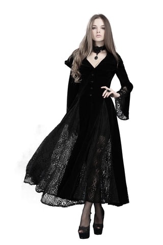 Black Long Sleeve Gothic Vampire Punk Scene Clothing velvet jacket gown JW011 - Gothlolibeauty