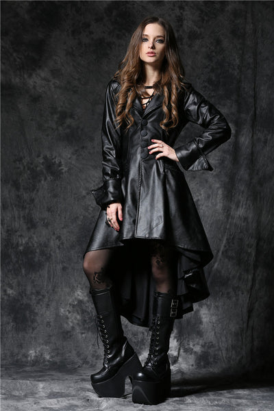 JW096 Gothic leather cocktail robe jacket with eyelets cap