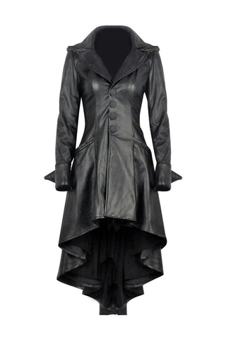 DARK IN LOVE Gothic long coat leather cocktail robe jacket with eyelets cap JW096 - Gothlolibeauty