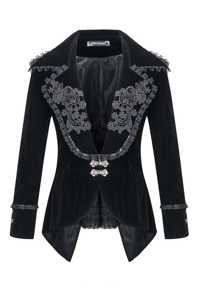 JW113 Gothic velvet jacket with flowers collar