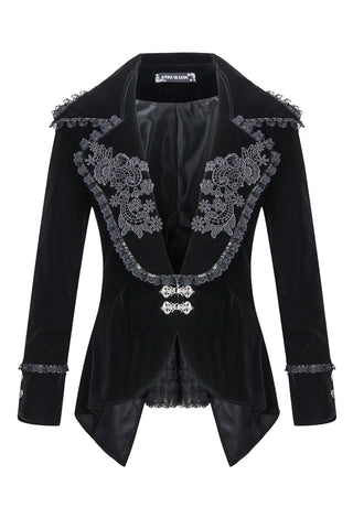 Custom made link of Gothic velvet jacket with flowers collar JW113 - Gothlolibeauty