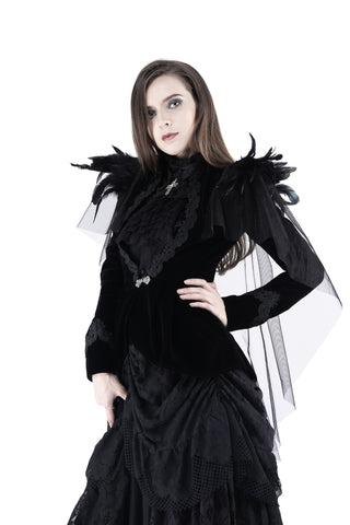 Gothic velvet jacket with swallow shoulder JW116 - Gothlolibeauty
